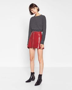 Image 1 of MINI PATENT FINISH SKIRT from Zara
