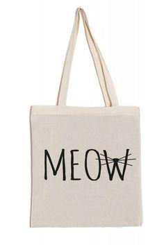 Jutebeutel Baumwolltasche lange Henkel Spruch bedruckt flexfolie meow Katze