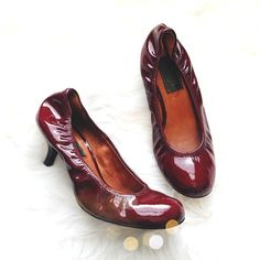 Authentic Lanvin Patent Heels Super cute and practical for work or play! Burgundy patent leather. In pre worn condition with patent in great shape. Size 37. No trades!! 04151640gwpg Lanvin Shoes Heels