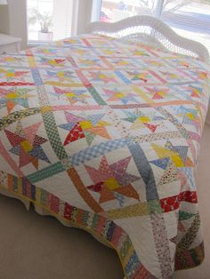 King Size 1930s Reproduction Pinwheel Quilt by QuiltsClothsCovers, $600.00