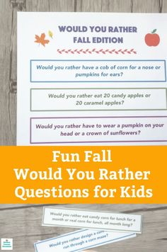 The leaves are falling, the pumpkins are out and it's time for some fall fun. Check out these fall would you rather questions for kids. A free printable game for kids. #freeprintable #wouldyouratherquestionsforkids #wouldyourather #fallgames #gamesforkids #printablegamesforkids #fallactivityforkids#icebreakersforkids #icebreakergames Autumn Activities For Kids, Thanksgiving Activities, Crafts For Kids To Make, Family Activities, Happy Mom, Happy Kids, Would You Rather Questions, This Or That Questions, Printable Games For Kids