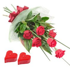 10 Red Roses Bunch With Heart Shape Candles on Valentine