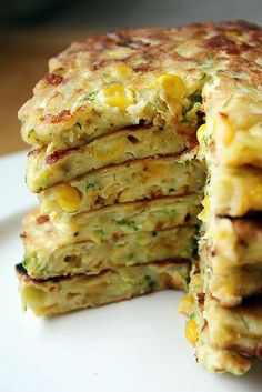 Zucchini Corn Pancakes | These were so delicious that even my picky toddler loved them! Definitely a keeper.