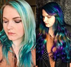 Before and after of rainbow color I did using Pulp Riot color and Hidden Crown extensions. : FancyFollicles