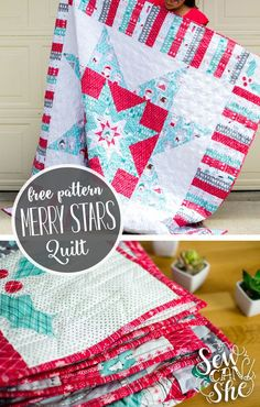 Merry Christmas in July... This is my present to you (because I love my readers so much!) - a complete pattern for the Merry Stars Quilt! I designed this quilt a couple years ago and made a smaller version for my family. At the time, Christmas was fast approaching so I was forced to just giv