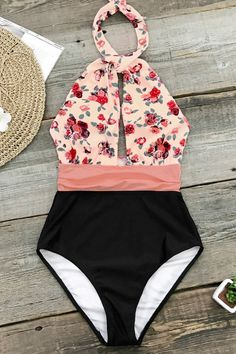 58f45407cb Pink And Black Print One-Piece Swimsuit Summer Bathing Suits