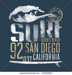 Surfing artwork. Black's beach San Diego California. T-shirt apparel print graphics. Original graphics Tee