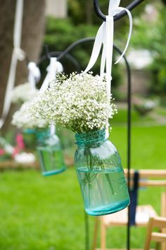 Baby's breath jars for aisle - or reception center pieces?