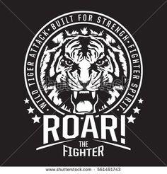 Tiger fighter typography, tee shirt graphics, vectors