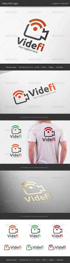 Video Wifi Camera Logo Business Branding, Logo Branding, Branding Design, Logo Design, Graphic Design, Logo Templates, Flyer Template, Wifi, Camera Logo