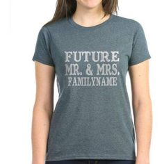 Cafepress Personalized Future Mr. And Mrs. Personalized Women's Dark T-Shirt, Size: Large, Black