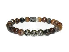 Bracelet dAgate rayée café perles Bracelets hommes Agate