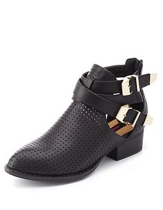 Dollhouse Perforated Cut-Out Ankle Boots: Charlotte Russe