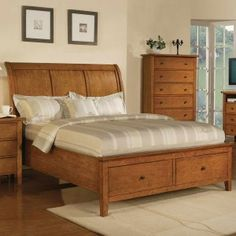 Vintage Wood Sleigh Storage Bed in Cognac by Winners Only