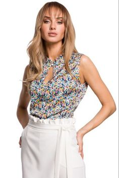 Μπλούζα αμάνικη με print - Μπλε Floral Tops, Short Dresses, Women, Fashion, Moda, Top Flowers, Short Gowns, Fashion Styles, Fashion Illustrations