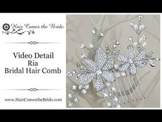 VIDEO- Elegant and romantic bridal hair comb featuring two rhinestone flowers made of stunning CZ rhinestones and is accented with rhinestone and pearl leaves and vines by Hair Comes the Bride.  ~ #bridalhairaccessories  #bridalcomb  #bridalhaircomb