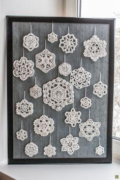 Набор новогодних вязаных снежинок-2