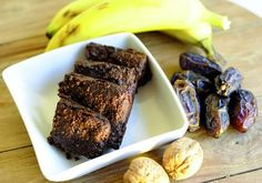 Healthy Banana Brownies with Bambu Dessert Bars, Dessert Recipes, Desserts, Substitute For Egg, Nutrition, Baking Pans, Almond Flour, Yummy Treats, A Food