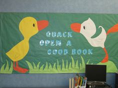spring / duck / pond / animal theme bulletin board quack open the good book! Reading Bulletin Boards, Spring Bulletin Boards, Library Bulletin Boards, Preschool Bulletin Boards, Bulletin Board Display, School Library Displays, Middle School Libraries, Elementary Library, Library Boards