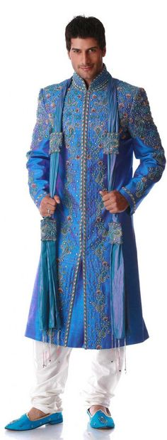 **LIKE IT** Blue Sherwani - paul really liked this one too (or the white w/ blue accents)