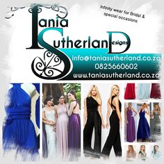 Tania Sutherland on line boutique -infinity dresses, jumpsuits & tops Bridal Pants, Infinity Dress, Bridal Gowns, Special Occasion, Jumpsuits, Boutique, How To Wear, Fashion Design, Tops