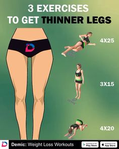 5 Exercises to Get Thinner Legs - - Leg Workout At Home, Bum Workout, Gym Workout Tips, Workout Videos, At Home Workouts, Workout Exercises, Thinner Legs, Fitness Goals, Fitness Motivation
