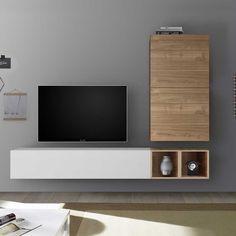 Meuble tv mural bois clair et blanc laqué Rimini Modern Tv Cabinet, White Tv Cabinet, Tv Wall Design, Tv Unit Design, Design Design, Living Room Modern, Living Room Designs, Living Rooms, Tv Wanddekor