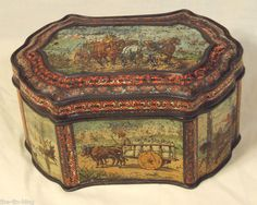 rare antique huntley & palmers wagon early fancy biscuit tin 1886 horse ox camel