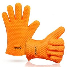 Cooking Gloves Heat Resistant Silicone Oven Mitts 5 Fingers for Grilling BBQ Waterproof Non Slip Non Toxic Eco Friendly Dishwasher Safe Premium Quality Set from KS Masters for High Thermal Protection Great Addition to Kitchen and Grill >>> You can find out more details at the link of the image.