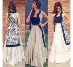 Indian Long Skirt With Crop Top And Jacket- Stylish Indo Western Dress, Indian ethnic dress, salwar Western Dresses, Indian Dresses, Indian Outfits, Indian Clothes, Western Outfits, Long Shrug, Shrug For Dresses, Long Dresses, Crop Top Dress