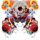 Toothy Feline Skull Dances on Colicky Scientists Before Breakfast by Michael Pehel Scientists, Skull, Dance, Halloween, Breakfast, Poster, Design, Dancing, Morning Coffee