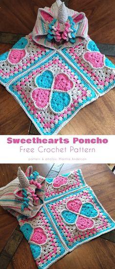 Crochet Unicorn Hat, Crochet Baby Poncho, Crochet Poncho Patterns, Crochet Blocks, Crochet Girls, Crochet For Kids, Free Crochet, Stitch Patterns, Crochet Children