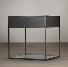 Gramercy bedside table. Metal with antiqued mirror tabletop. $595