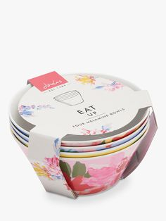 Joules Melamine Floral Print Picnic Bowls, Assorted, Set of 4 at John Lewis & Partners Crockery Set, Picnic Essentials, Tokyo Design, British Traditions, Molton Brown, Al Fresco Dining, Nails Inc, Joules, John Lewis