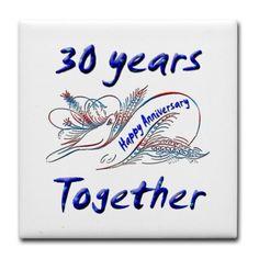 Happy 30th. Anniversary Tile Coaster