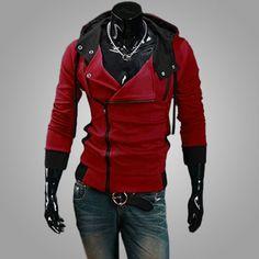 Men's Red Solid Hooded #Jacket  @ Looksgud.in   #MensFashion #Winterwear #RedStyle