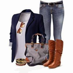 These brown knee-high boots look good with this navy-blue blazer, white shirt and jeans. Love this smart casual look!