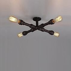 Flush Mount Loft Style Industrial Vintage Ceiling Light With 4 Lights For Living Room Hallway Fixtures,Edison Pipe Lamp