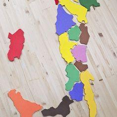 Un gioco originale per imparare le regioni d'Italia. Crea nido le con gomma crepla colorata. Facili da memorizzare e divertente molto educativo