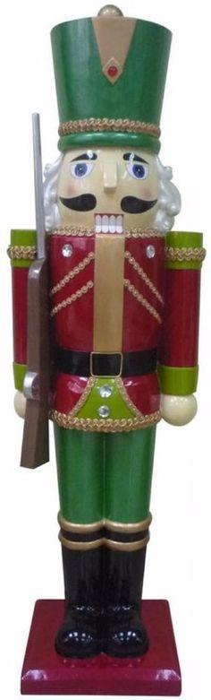 Hand-painted Christmas Nutcracker Soldier Figurine with Staff Tabletop Decor #Nutcracker #Handpainted #Christmas #NutcrackerSoldier #Soldier #Festive #Seasonal #Holiday #Home #Decor #HomeDecor #Tabletop