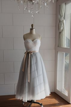 Strapless Ivory Lace Silver Grey Tulle Tea Length Short Wedding Dress/Bridesmaid Dress/Prom Dress by misdress on Etsy