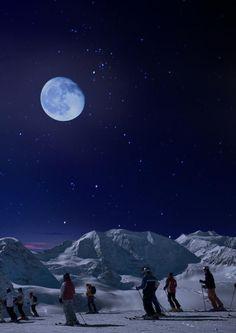Diavolezza sciare di notte con la luna piena – Mondo Neve