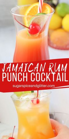 Jamaican Rum Punch - a delicious tropical cocktail perfect for bringing a bit of sun into your day, no matter what time it is. It looks like a beautiful sunset in a glass and tastes amazing Jamaican Rum Punch Recipes, Jamaican Drinks, Rum Recipes, Coctails Recipes, Alcohol Drink Recipes, Recipies, Mango Rum Drinks, Rum Mixed Drinks, Carribean Rum Punch