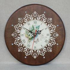 Clock Painting, Clock Art, Diy Clock, Decoupage Wood, Decoupage Vintage, Wood Clocks, Antique Clocks, Clock Printable, Handmade Wall Clocks