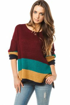 Jisella Sweater in Burgundy. Inspiration for a knitted sweater