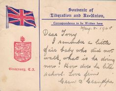 This Liberation postcard was received by the Blampied family in Cheshire just after 9 May 1945. Tony Blampied had been just a baby when he evacuated with his mother in June 1940. Courtesy of the Blampied family