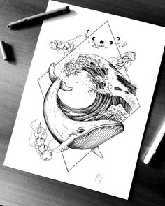 Fineliner Ink and Pencil Animal Drawings - - Whale Sketch, Whale Drawing, Pencil Art Drawings, Art Drawings Sketches, Animal Drawings, Sketch Art, Drawing Art, Tattoo Sketches, Tattoo Drawings