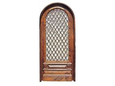 Arched Single Solid Door Wrought Iron Insert