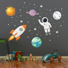 Outer Space Wall Decal Stars Planets Astronaut Rocket Solar System Wall Art Kids Wall Decals - pinupi love to share Boys Space Bedroom, Outer Space Bedroom, Boy Room, Kids Wall Decor, Art Wall Kids, Art For Kids, Wall Art, Wall Vinyl, Kids Room Wall Decals