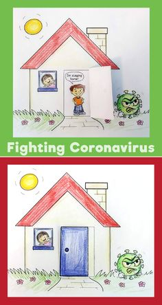 Fighting Coronavirus – Staying Home Craft Easy Arts And Crafts, Crafts To Do, Home Crafts, Crafts For Kids, Basic Drawing For Kids, House Drawing For Kids, Drawing Activities, Craft Activities For Kids, Children Sketch